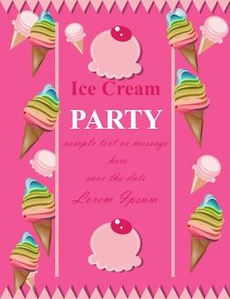 Carte d'invitation de fête rose crème glacée