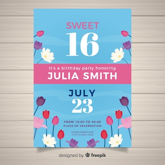 Carte d'invitation de fête sweet sixteen