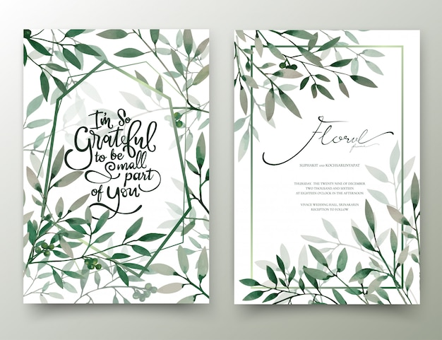 Carte d'invitation de feuilles peintes à la main aquarelle.