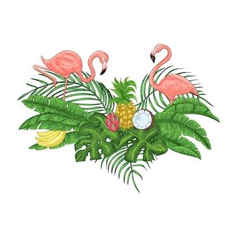 Carte d'invitation flamingo
