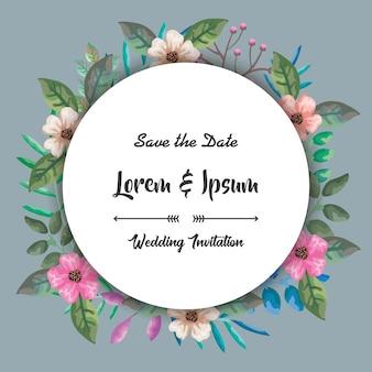Carte d'invitation avec fleurs cadre circulaire