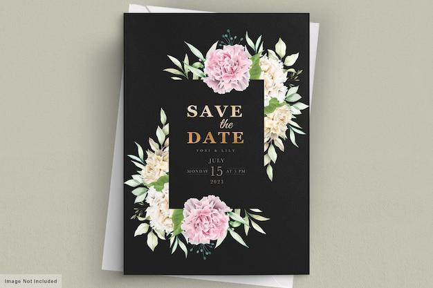 Carte d'invitation de fleurs d'oeillet