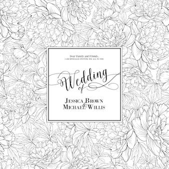 Carte d'invitation avec des fleurs.