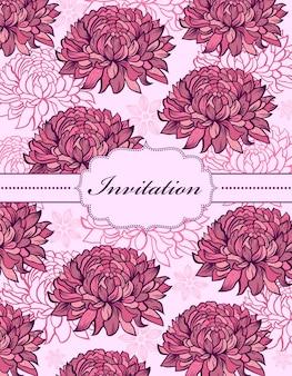 Carte d'invitation floral dessiné main coloré