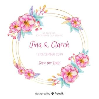Carte d'invitation floral de mariage