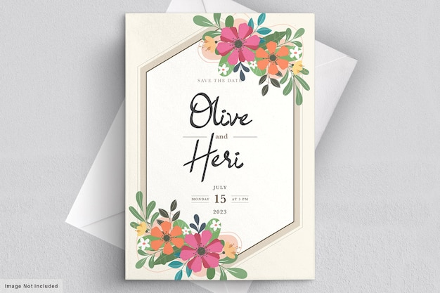 Carte d'invitation floral plat abstrait