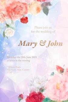 Carte d'invitation floral rêveur