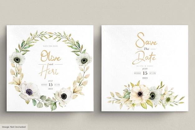 Carte d'invitation florale d'anémone de pavot aquarelle