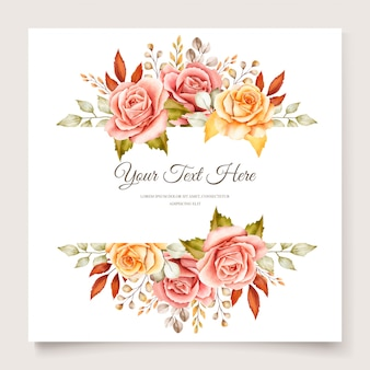 Carte d'invitation florale aquarelle automne