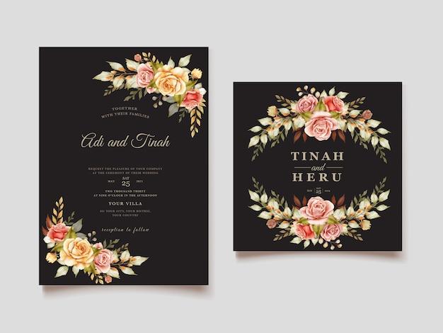 Carte d'invitation florale aquarelle automne