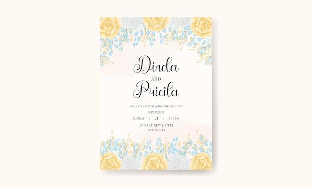 Carte d'invitation florale aquarelle dessin à la main élégante avec des fleurs et des feuilles douces