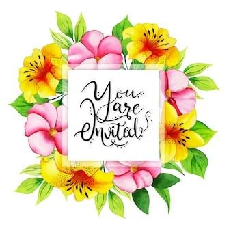 Carte d'invitation florale aquarelle