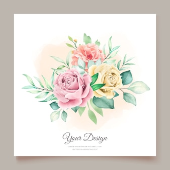 Carte d & # 39; invitation florale aquarelle