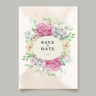 Carte d & # 39; invitation florale aquarelle