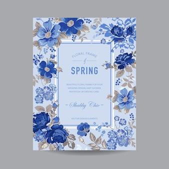 Carte d'invitation florale vintage