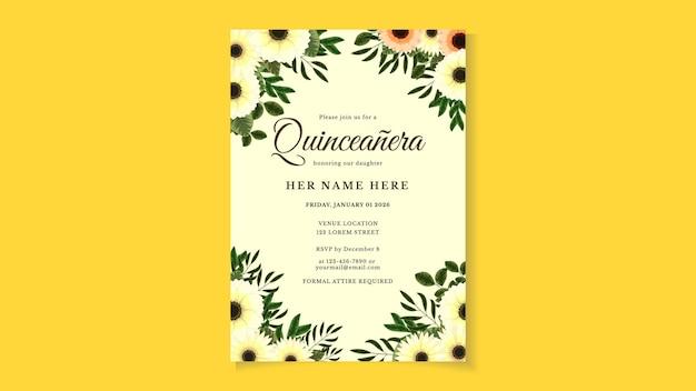 Carte d'invitation de flyer de célébration d'anniversaire de quinceanera pour fille d'amérique latine en design floral