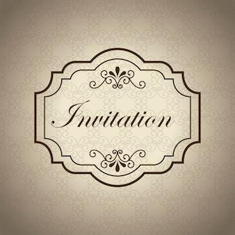 Carte d'invitation sur illustration vectorielle fond beige