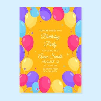 Carte d'invitation de joyeux anniversaire avec des ballons