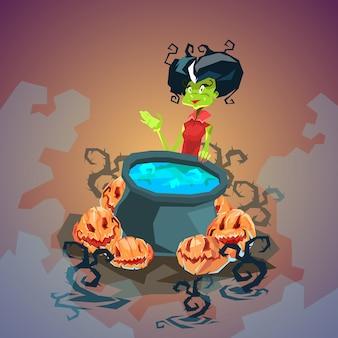 Carte d'invitation joyeux halloween potion d'ébullition de sorcière