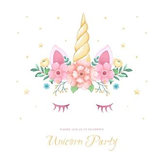 Carte d'invitation licorne avec illustration florale pour l'anniversaire des enfants et la douche de bébé