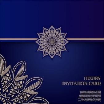 Carte d'invitation de luxe mandala or avec fond bleu
