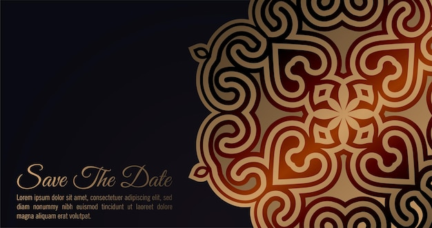 Carte d'invitation de luxe de style mandala