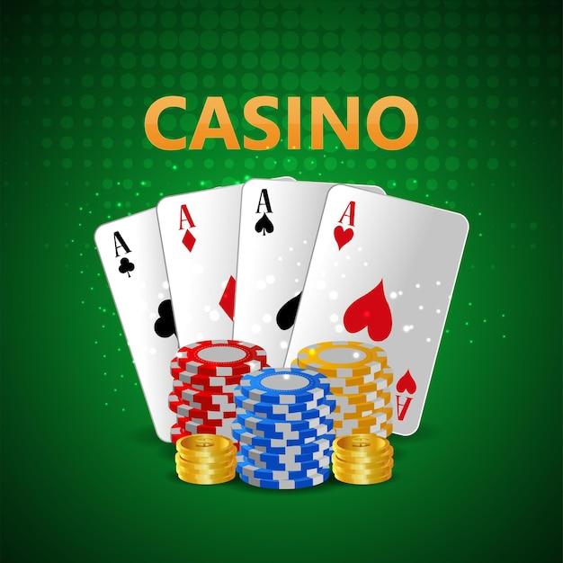 Carte d'invitation de luxe vip casino avec jetons de casino et cartes à jouer