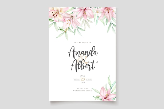 Carte d'invitation de lys aquarelle