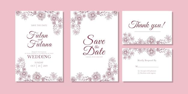 Carte d'invitation de mariage abstrait floral et fleur contour doodle art modèle