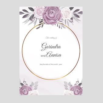 Carte d'invitation de mariage aquarelle avec de belles fleurs et feuilles