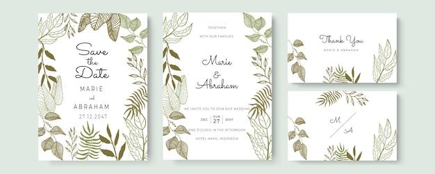 Carte d'invitation de mariage aquarelle élégante avec des feuilles d'or