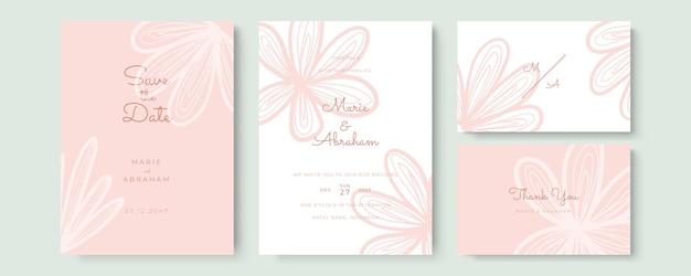 Carte d'invitation de mariage aquarelle élégante avec des feuilles roses