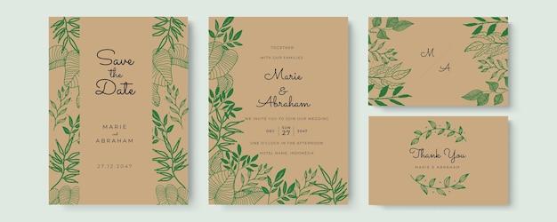 Carte d'invitation de mariage aquarelle élégante avec des feuilles de verdure