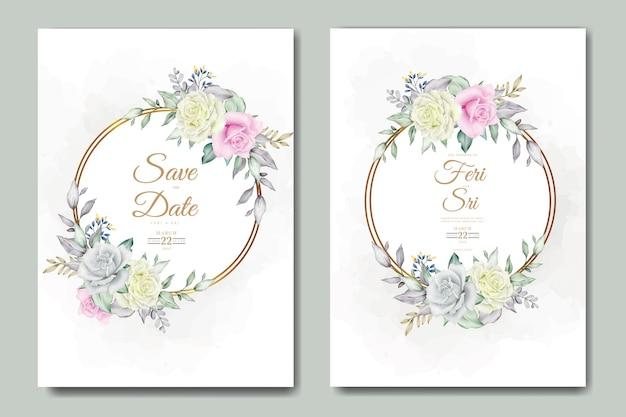Carte d'invitation de mariage aquarelle élégante fleur et feuilles