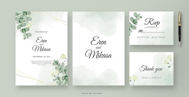 Carte d'invitation de mariage avec aquarelle feuille d'eucalyptus