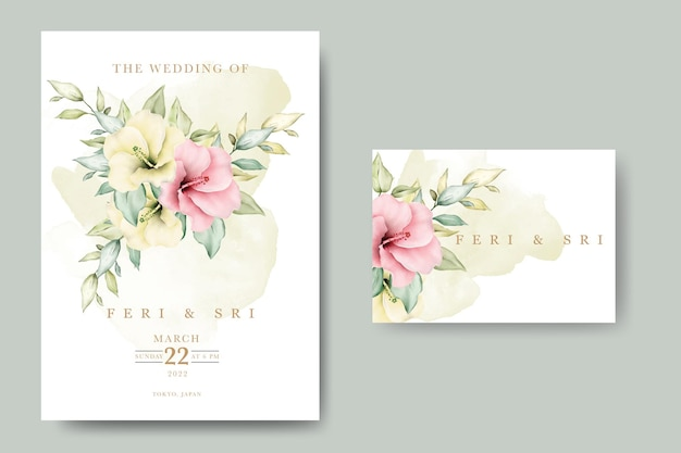 Carte d'invitation de mariage avec aquarelle de feuilles florales