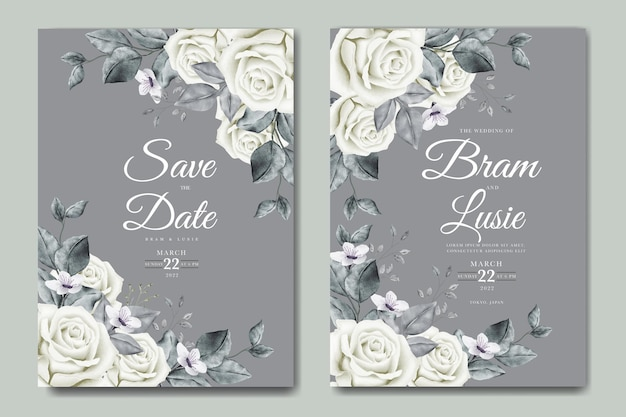 Carte d & # 39; invitation de mariage avec aquarelle de feuilles florales
