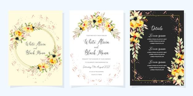 Carte d'invitation de mariage avec aquarelle fleur jaune et feuilles vertes