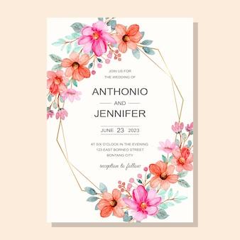 Carte d'invitation de mariage avec aquarelle fleur rose