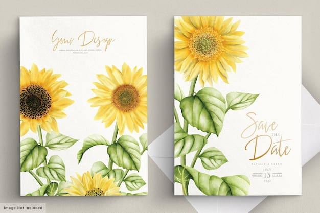 Carte d'invitation de mariage aquarelle fleur soleil