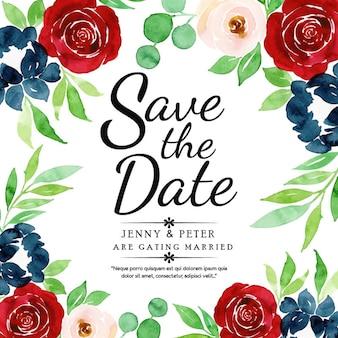 Carte d'invitation de mariage aquarelle floral