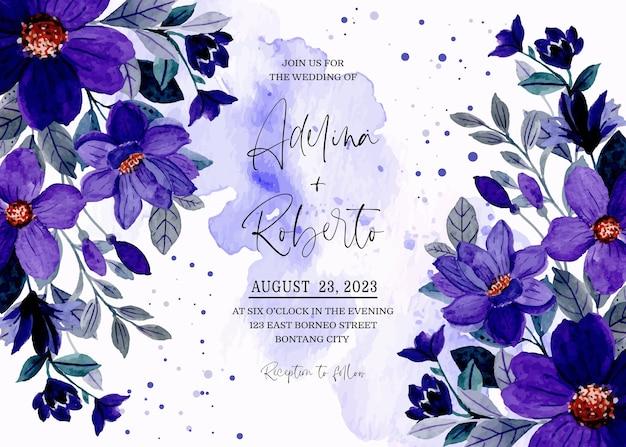 Carte d'invitation de mariage avec aquarelle florale bleu violet