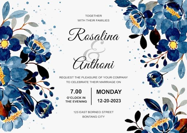 Carte d'invitation de mariage avec aquarelle florale bleue