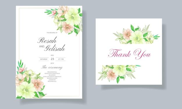 Carte d'invitation de mariage aquarelle florale et feuilles