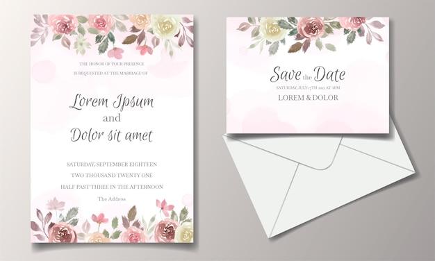 Carte d'invitation de mariage avec aquarelle florale et feuilles