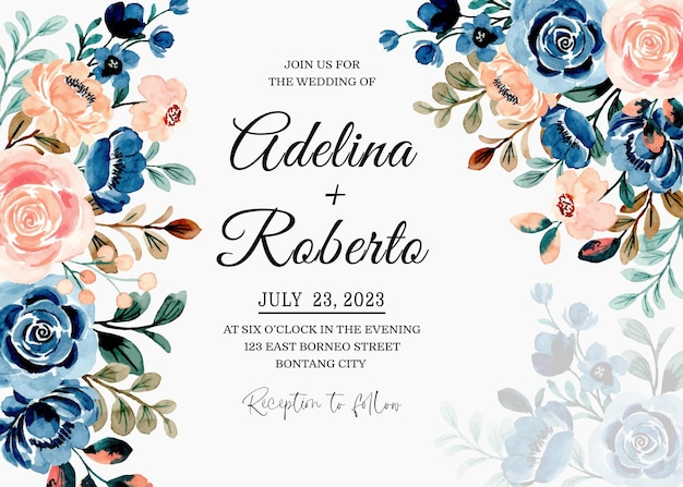 Carte d'invitation de mariage avec aquarelle florale pêche bleue