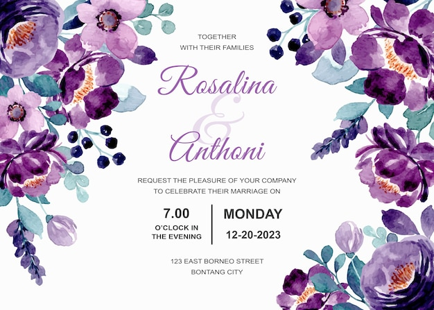 Carte d'invitation de mariage avec aquarelle florale violette