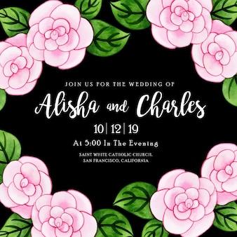 Carte d'invitation de mariage aquarelle florale