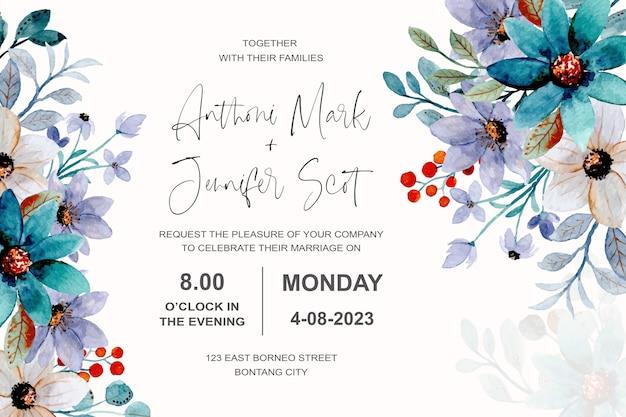Carte d'invitation de mariage avec aquarelle florale