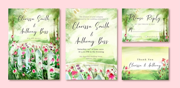 Carte d'invitation de mariage aquarelle de jardin vert et fleurs roses